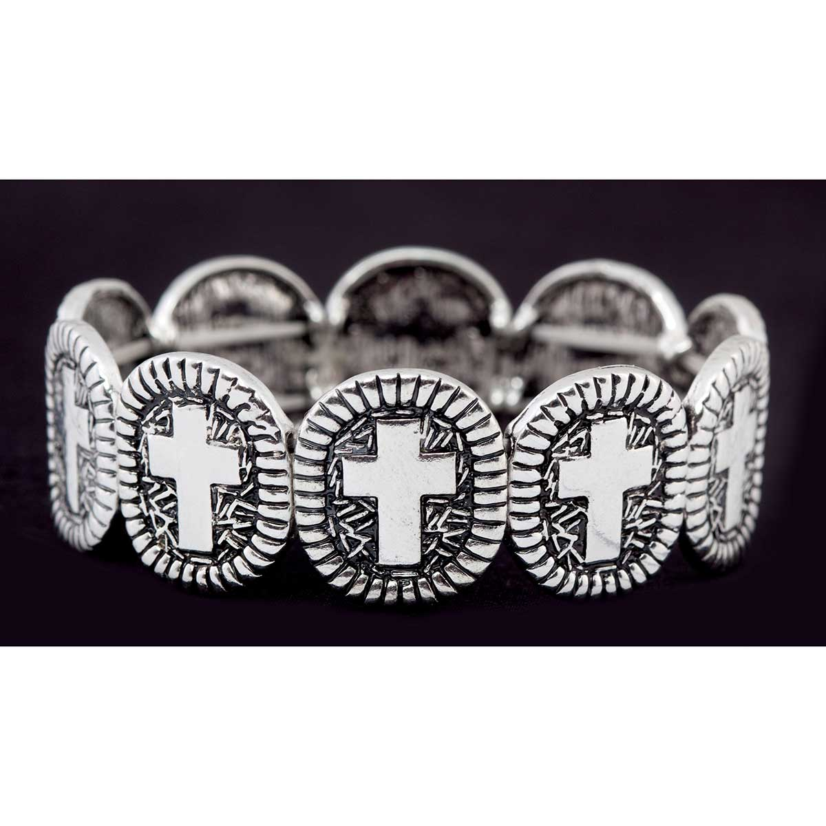 Antique Silver Cross Stretch Bracelet 50sp