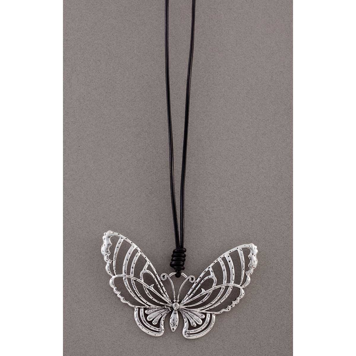 Butterfly on Black Cord Necklace 50sp