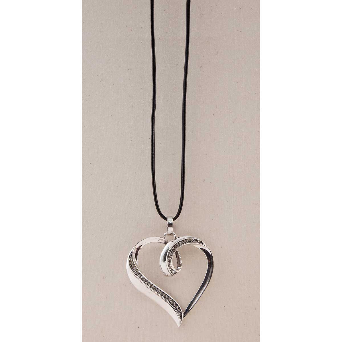 Silver Crystal Open Heart Necklace 50sp