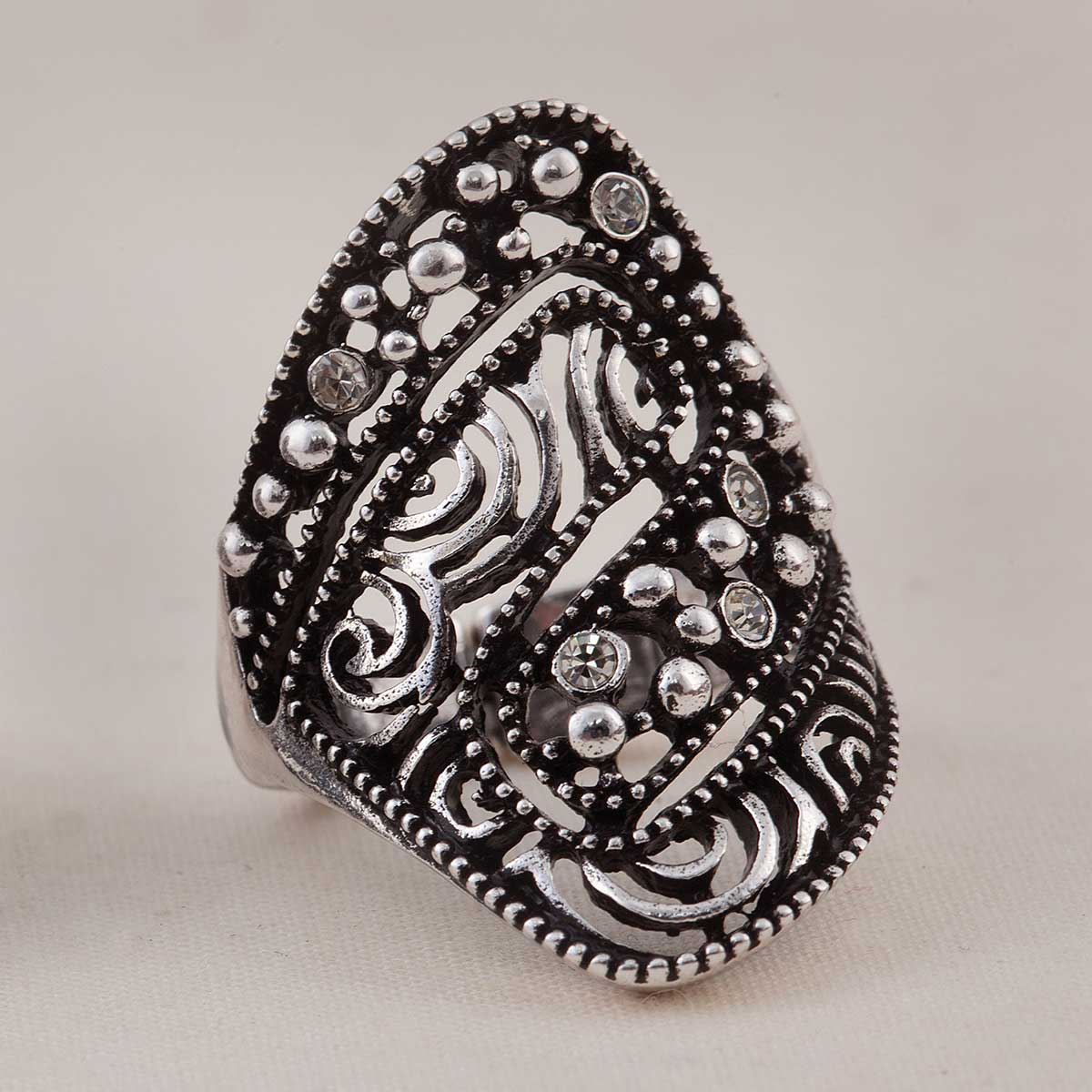 Antique Silver Bead Ring 50sp
