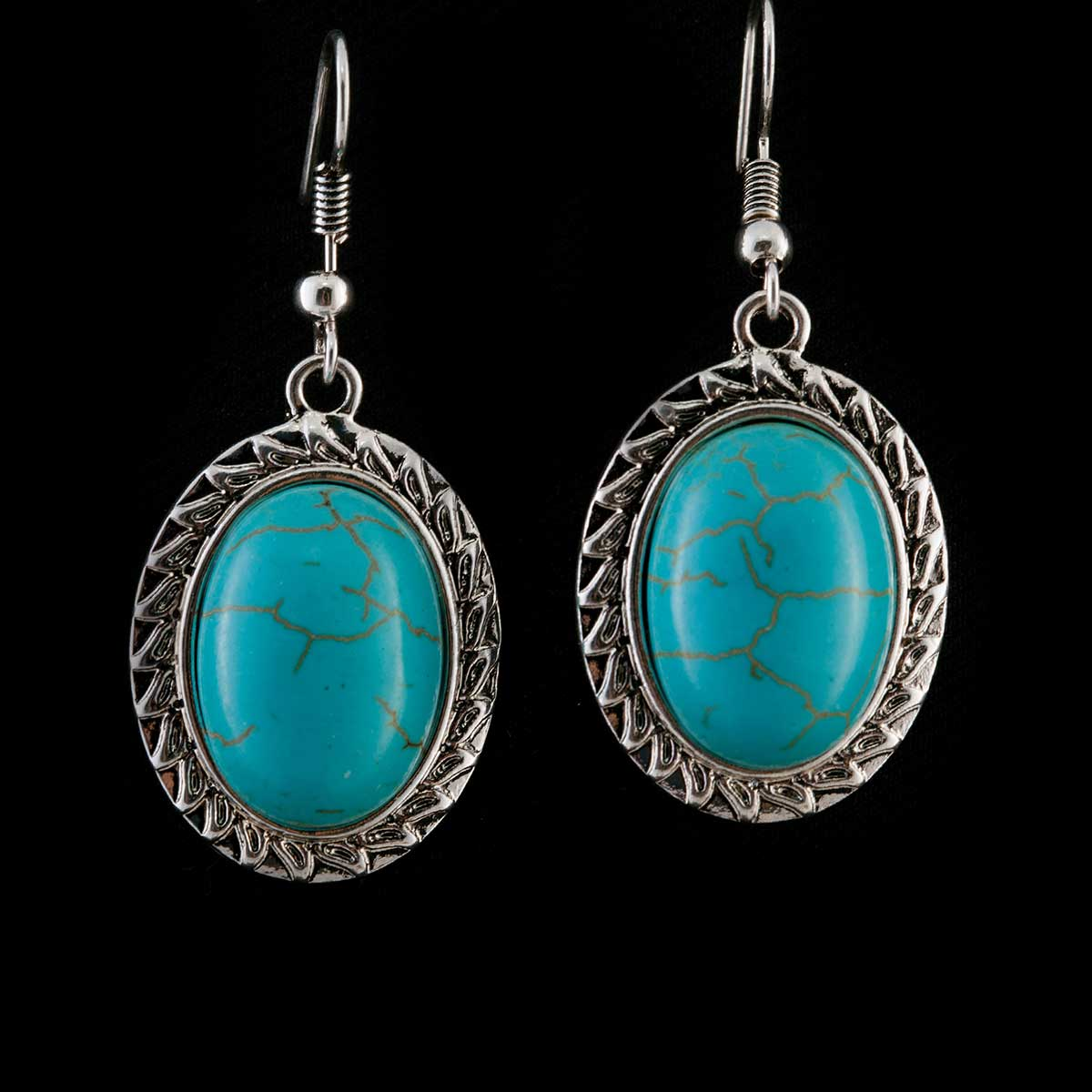 Turquoise Oval Stone Earrings 50sp