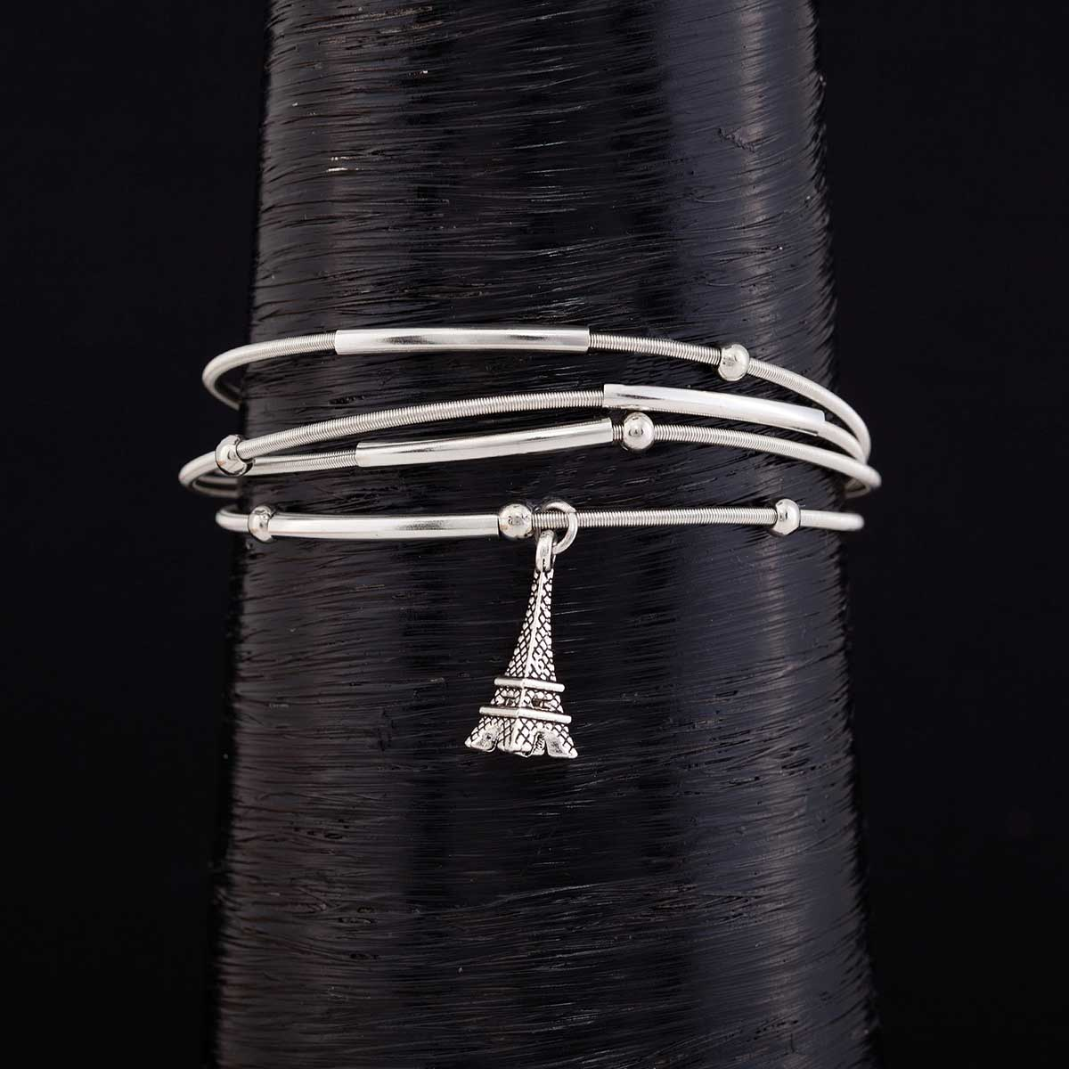 "Silver .75"" Eiffel Tower on 4 Coil Strand Bracelet 1""x7.5"" with"