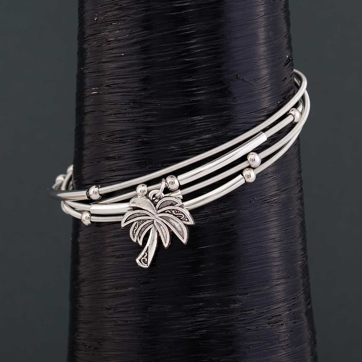 "Silver .75"" Palm Tree on 4 Coil Strand Bracelet 1""x7.5"" with Mag"