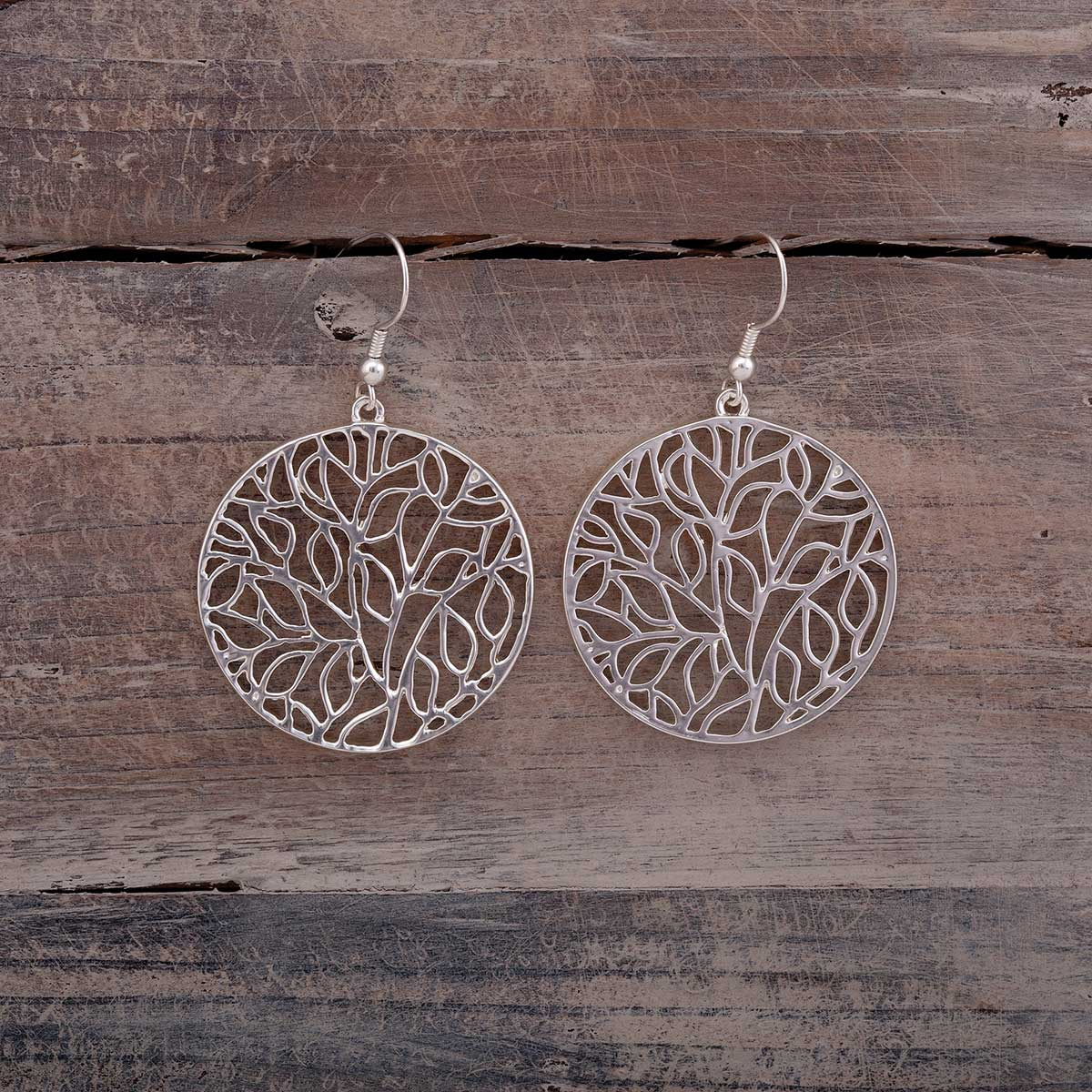 "Satin Silver 1.5""x1.5"" Leaf Pattern Round French Wire Earrings"