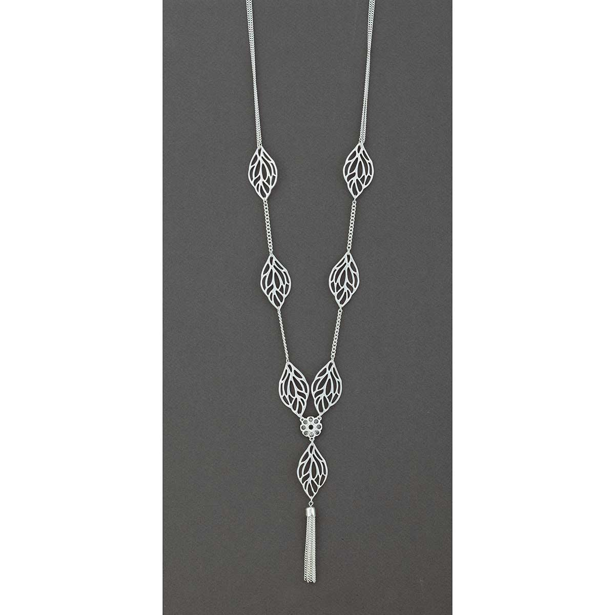 "Silver 7 Leaf with Tassel on Chain Necklace 16""-19"""