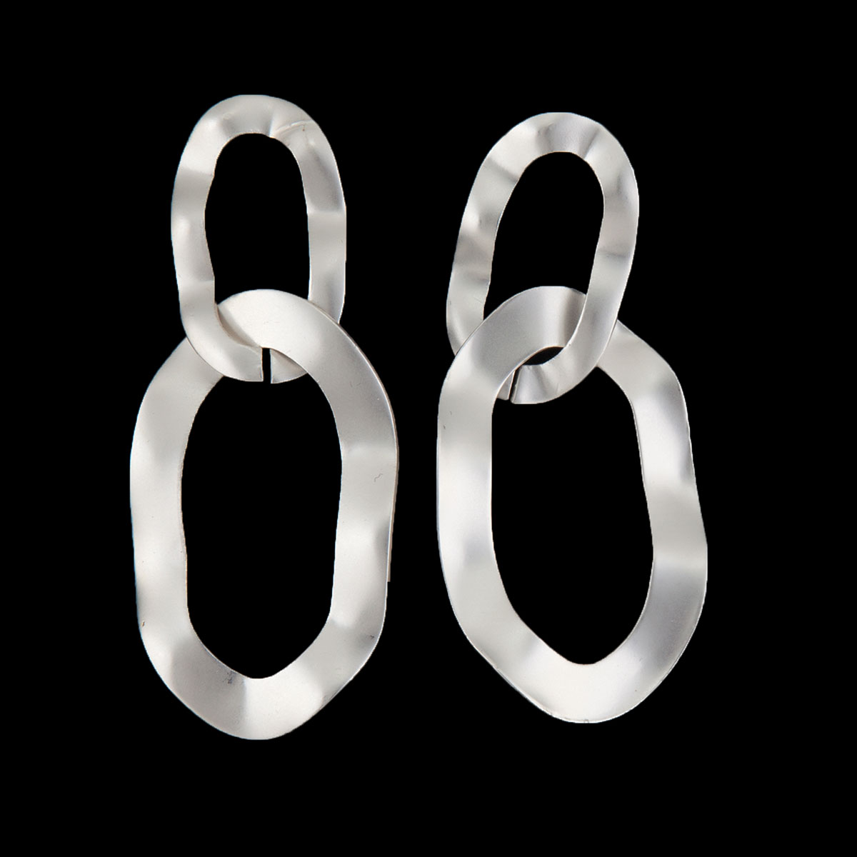 Matte Silver Double Oval Post Earrings