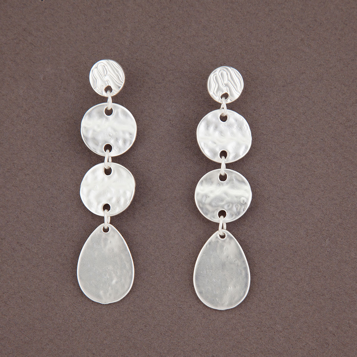 Matte Hammered Silver Multi Disc Dangle Post Earrings