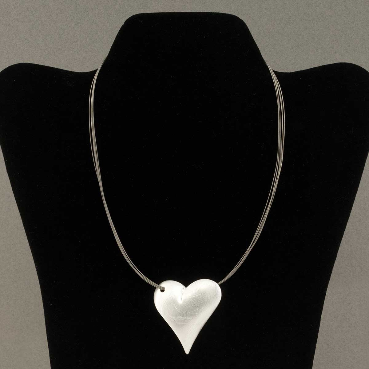 "Satin Brushed Silver Puff Heart Necklace on Wire Cord 19""-22"""