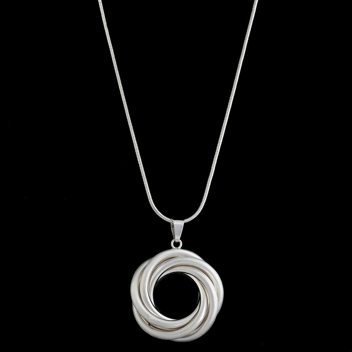 Satin and Shiny Silver Multi Circle Medallion Necklace on Chain