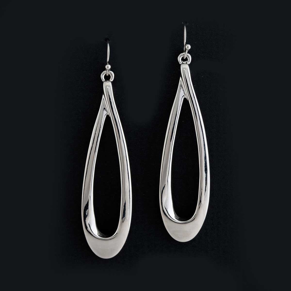 "Silver Teardrop Dangle French Wire Earrings .625""x2.25"""