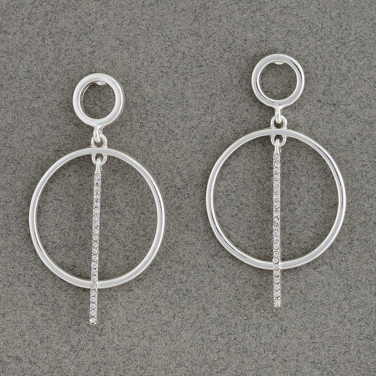 "Silver Geometric with Sparkle Drop Line Post Earrings 1.25""x1.75"