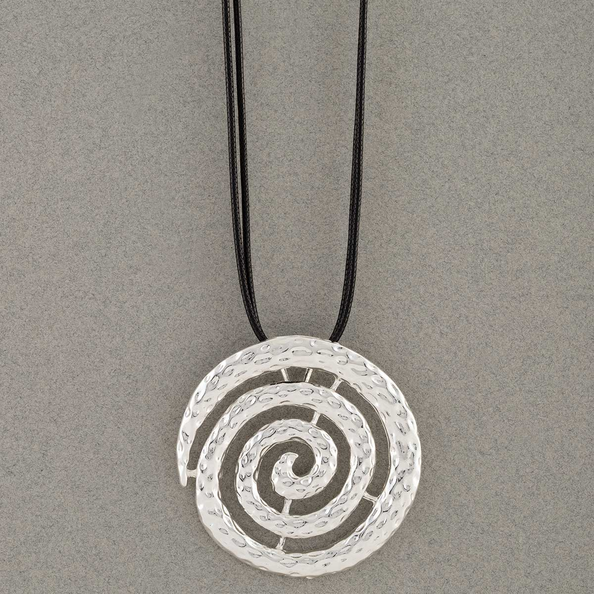 "Silver Celtic 2""x2"" Swirl Medallion Necklace on Black Cord 16""-1"