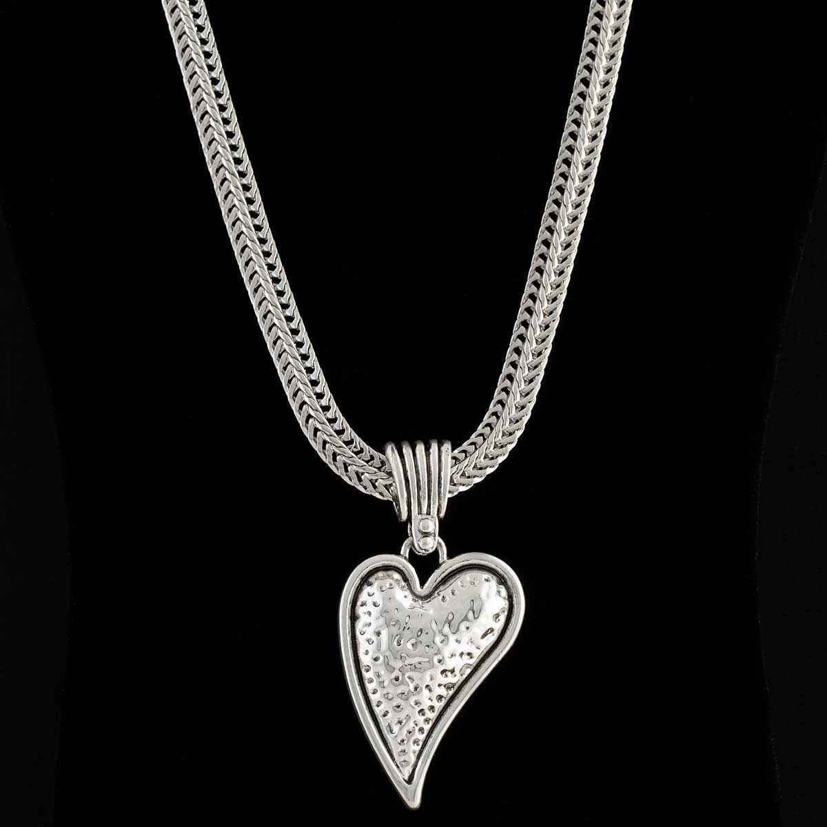 Antique Hammered Silver Heart Necklace on Chain