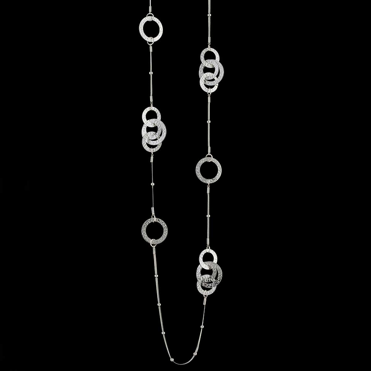 Silver Interlocking Circles and Mini Bead Necklace on Chain