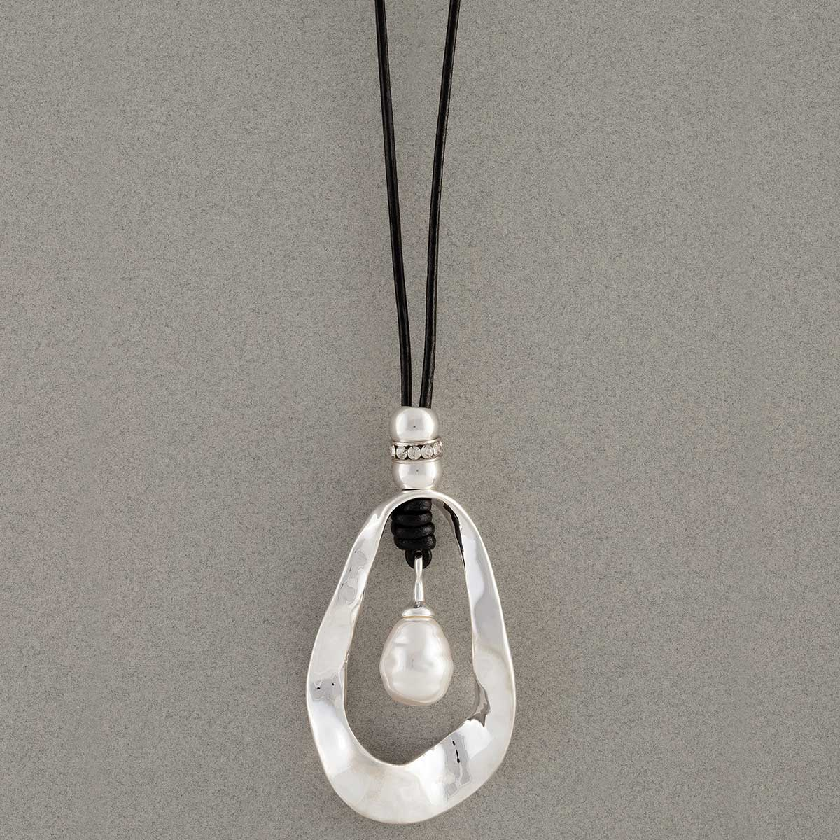Hammered Silver Oval with Pearl Necklace on Black Cord