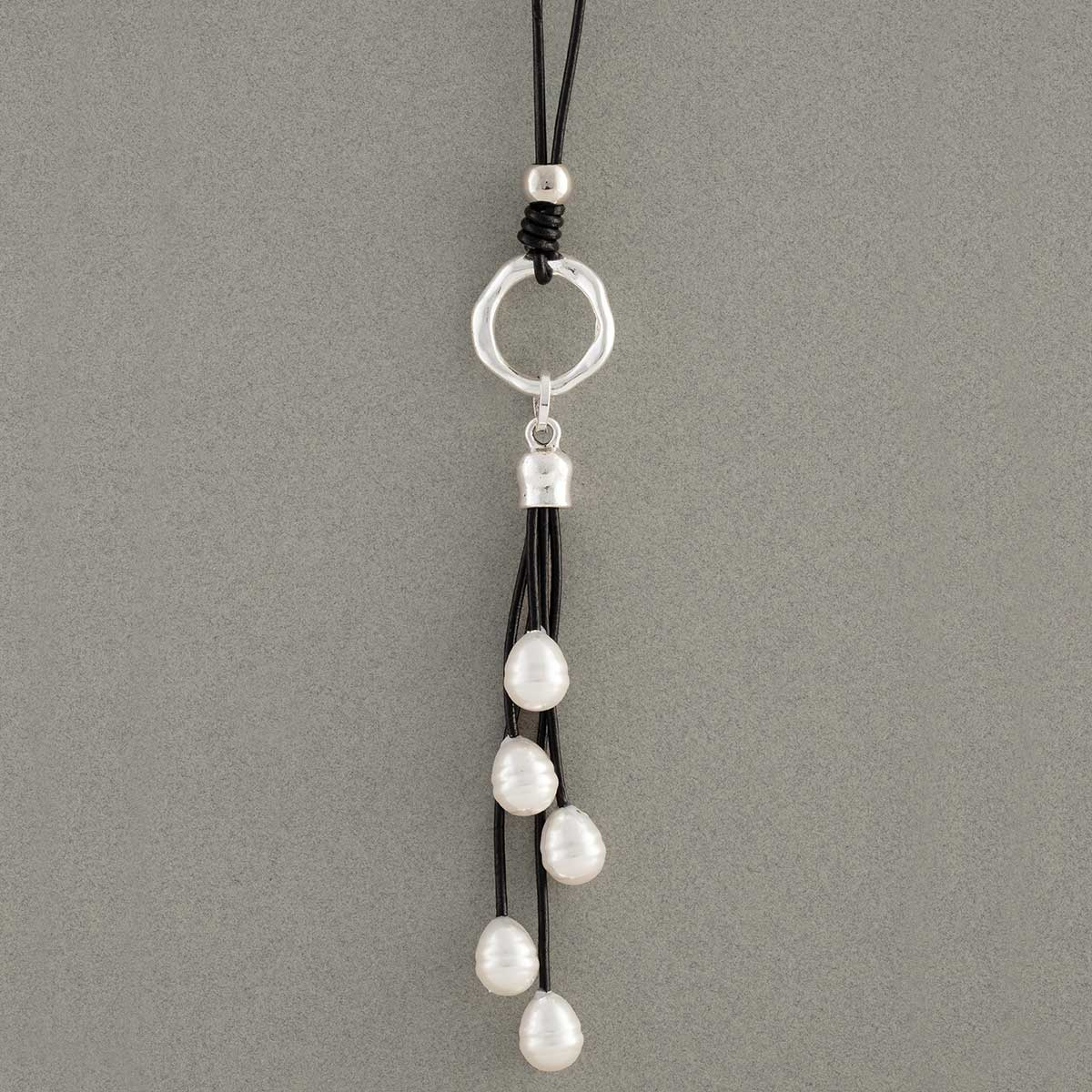 Pearl Tassel Necklace on Black Cord