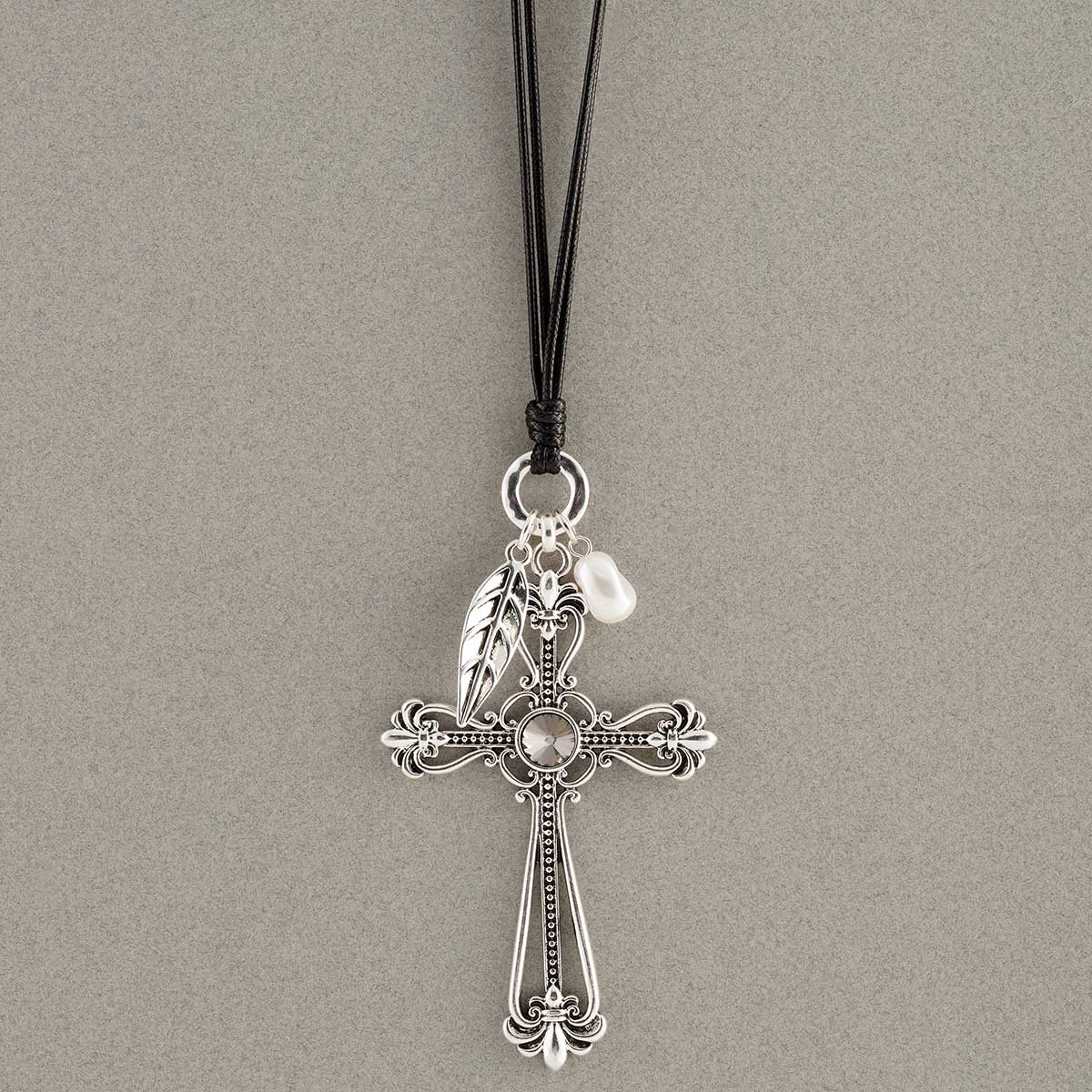 Silver Cross, Leaf and Pearl Necklace on Black Cord