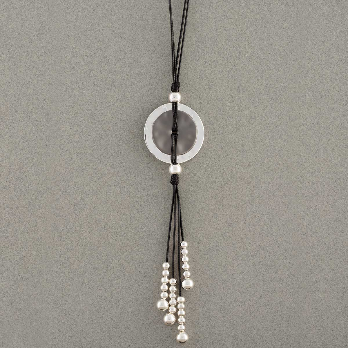 Silver Disc with Pearl Tassel Necklace on Black Cord