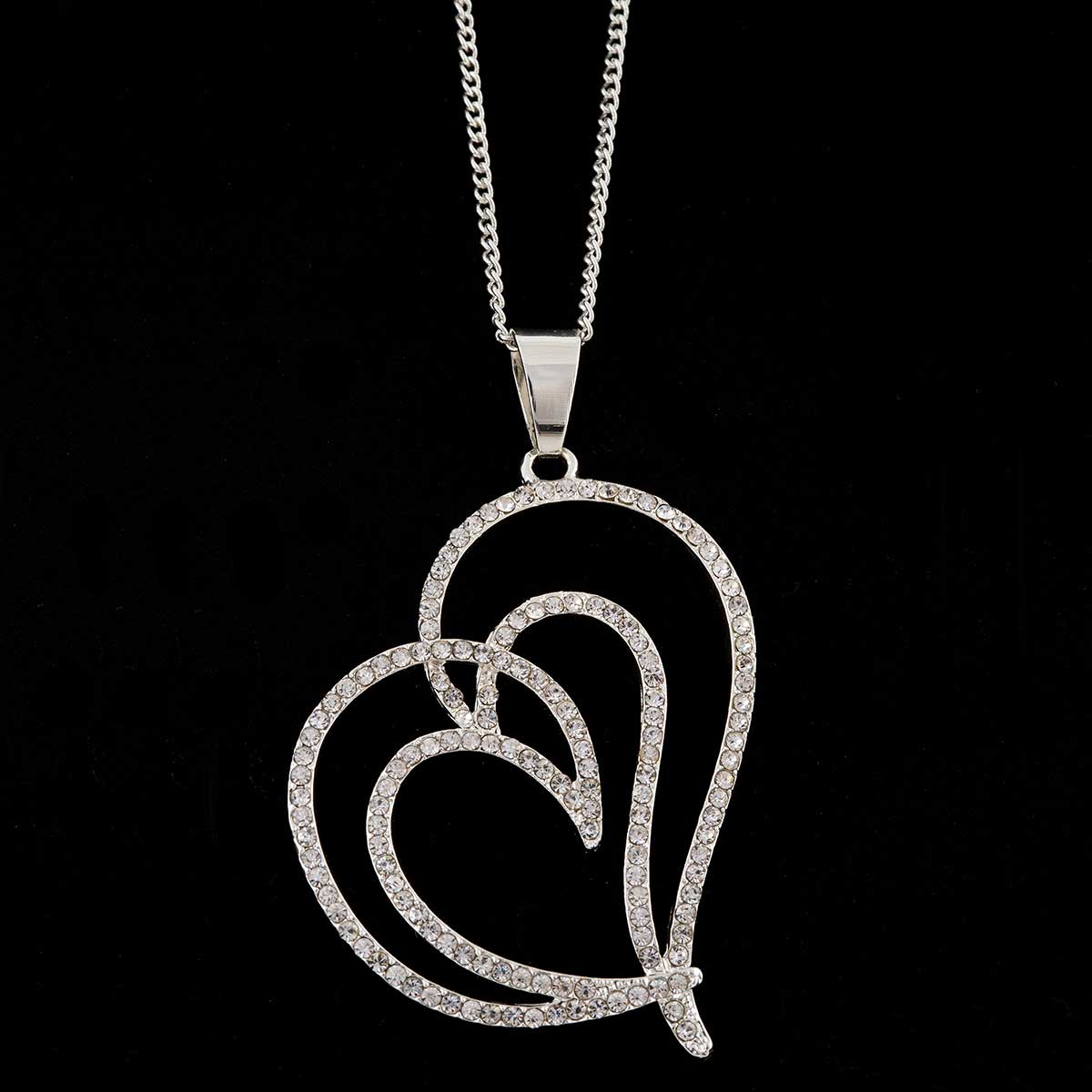 Silver Heart with Crystals Necklace on Chain