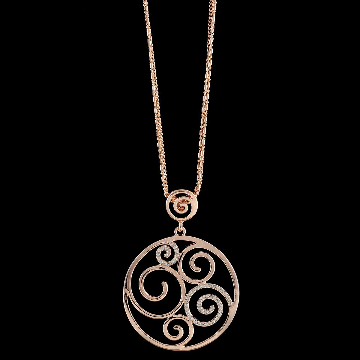 Rose Gold Celtic Swirl Medallion Necklace on Chain
