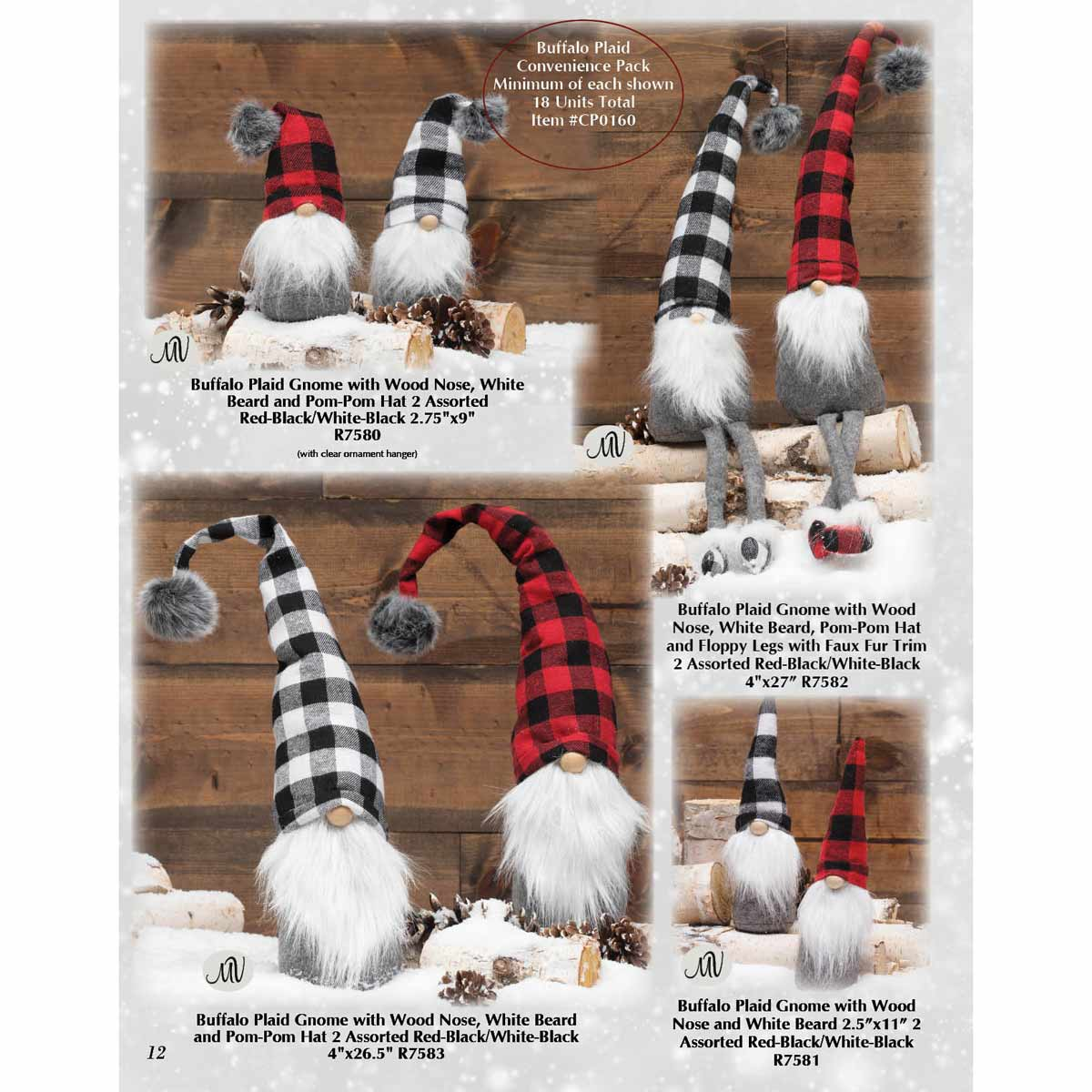 BUFFALO PLAID GNOME CONVENIENCE PACK 18 UNITS