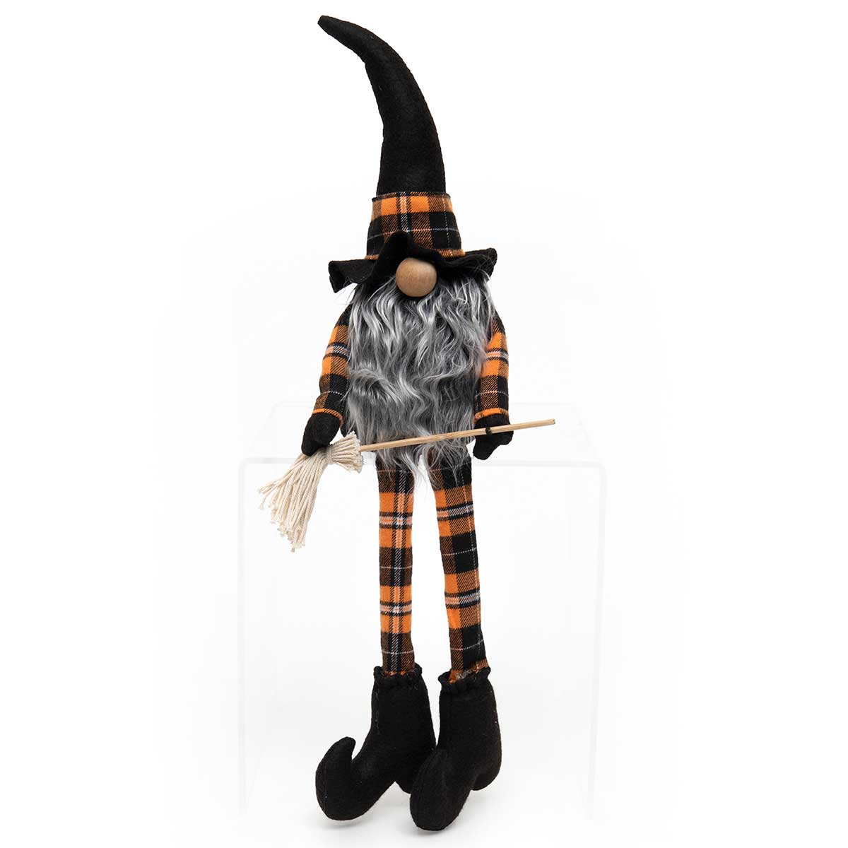 WITCH GNOME WITH BROOM, WOOD NOSE