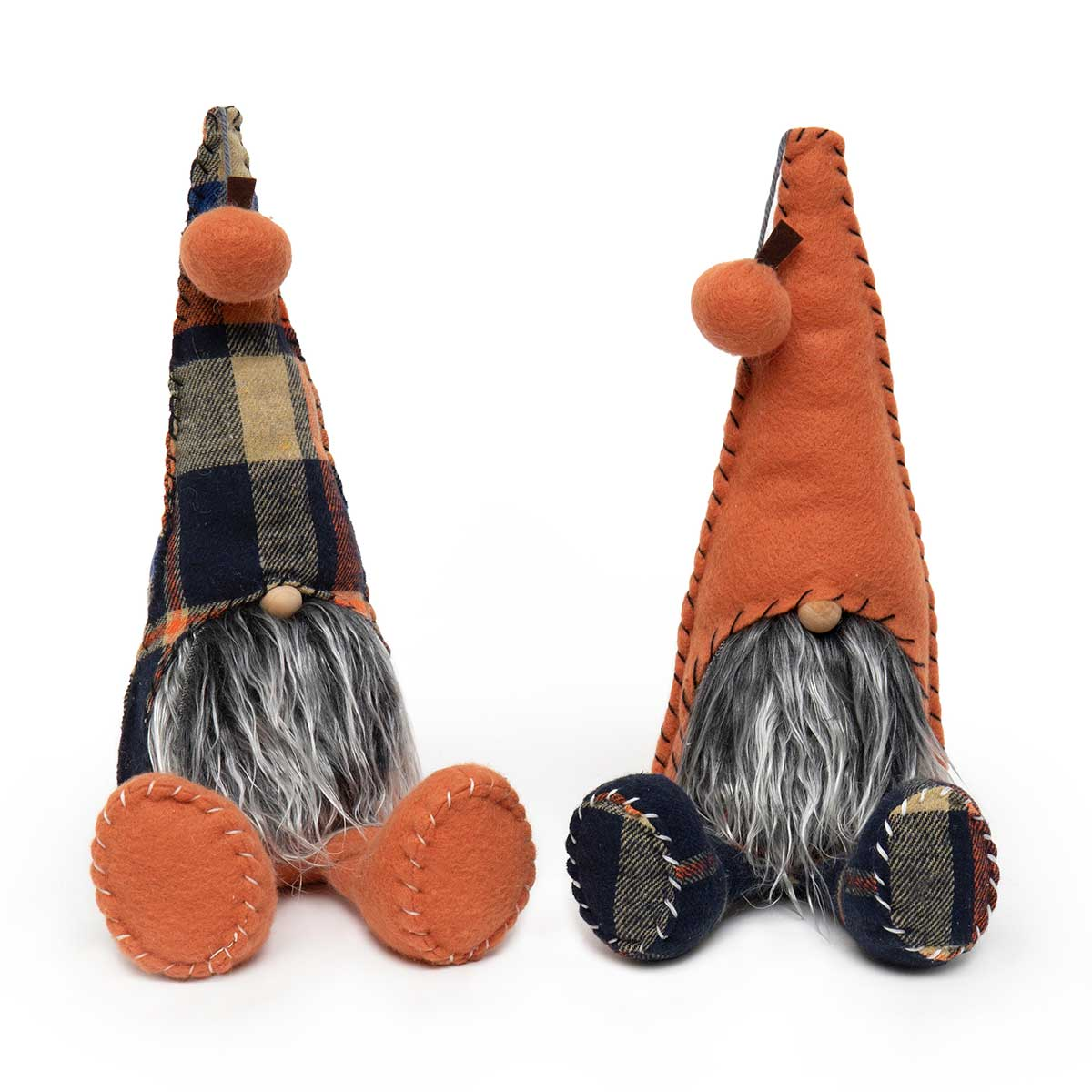 GNOME WITH PUMPKIN POM, ORANGE/BLUE