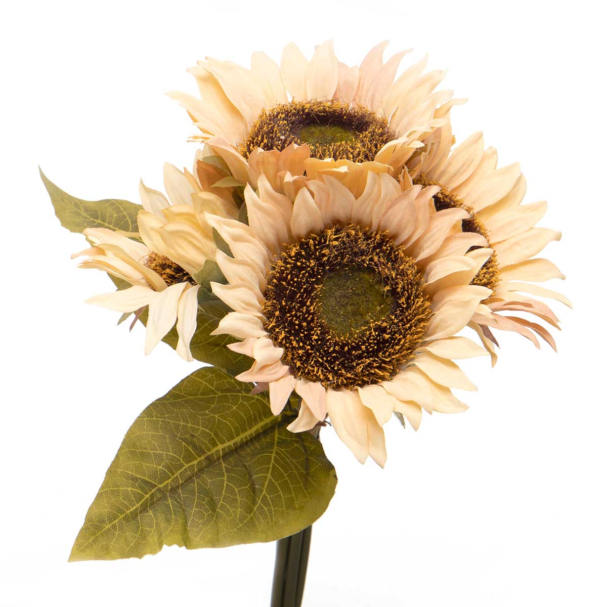 "SUNFLOWER BUNDLE OF 5 TIED WITH RAFFIA 10.5""X11"" RUST"