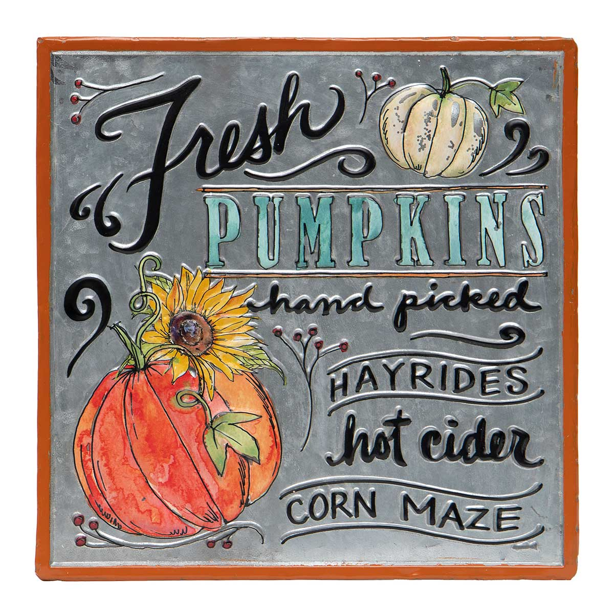 "SQUARE METAL ""FRESH PUMPKINS"" SIGN WITH"