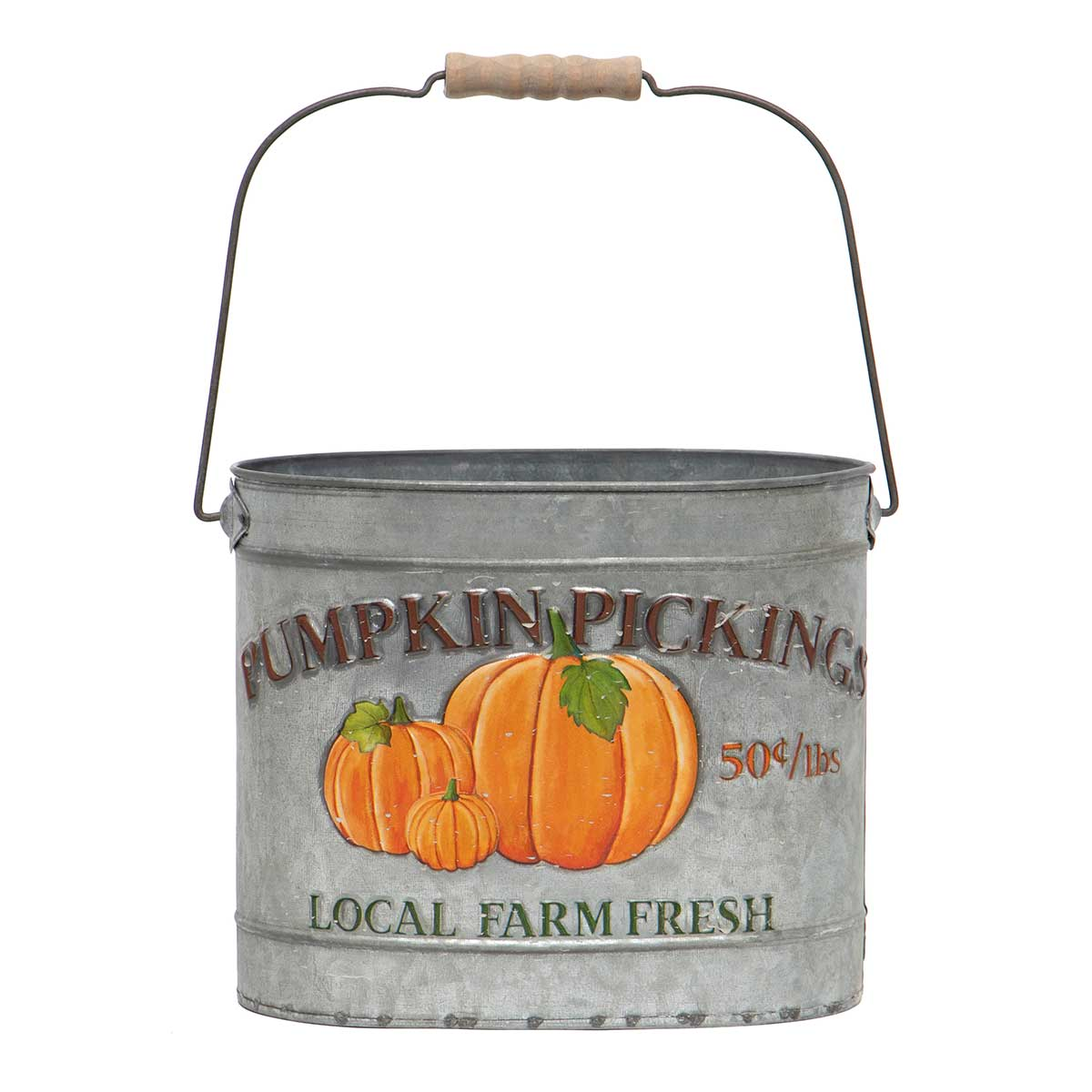 "METAL ""PUMPKIN PICKING"" PAIL"