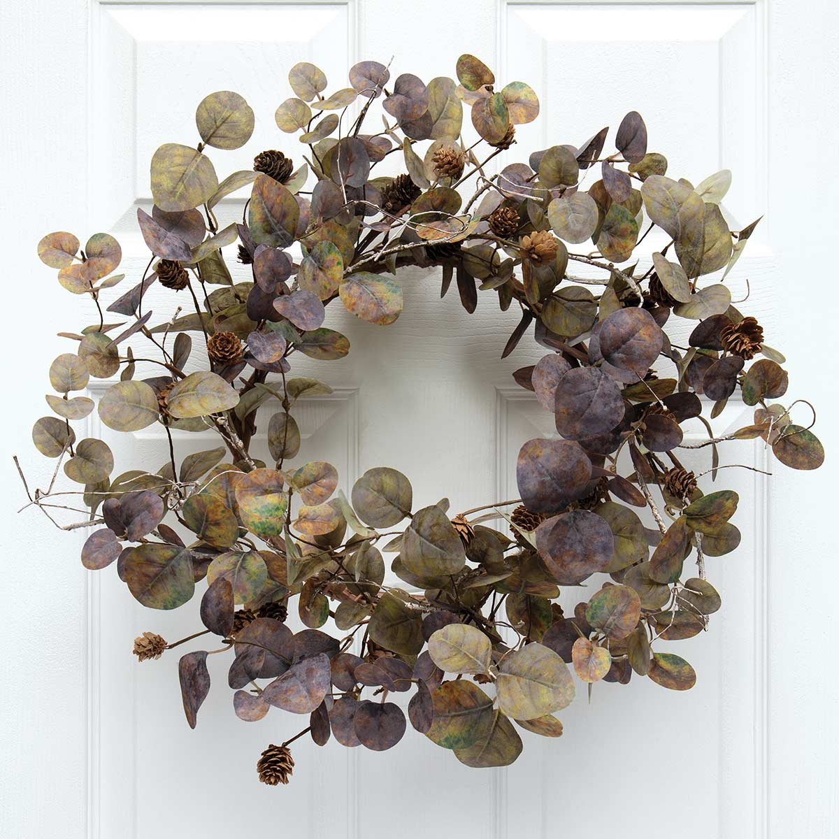 SILVER DOLLAR EUCALYPTUS WREATH WITH PINECONES AND FAUX