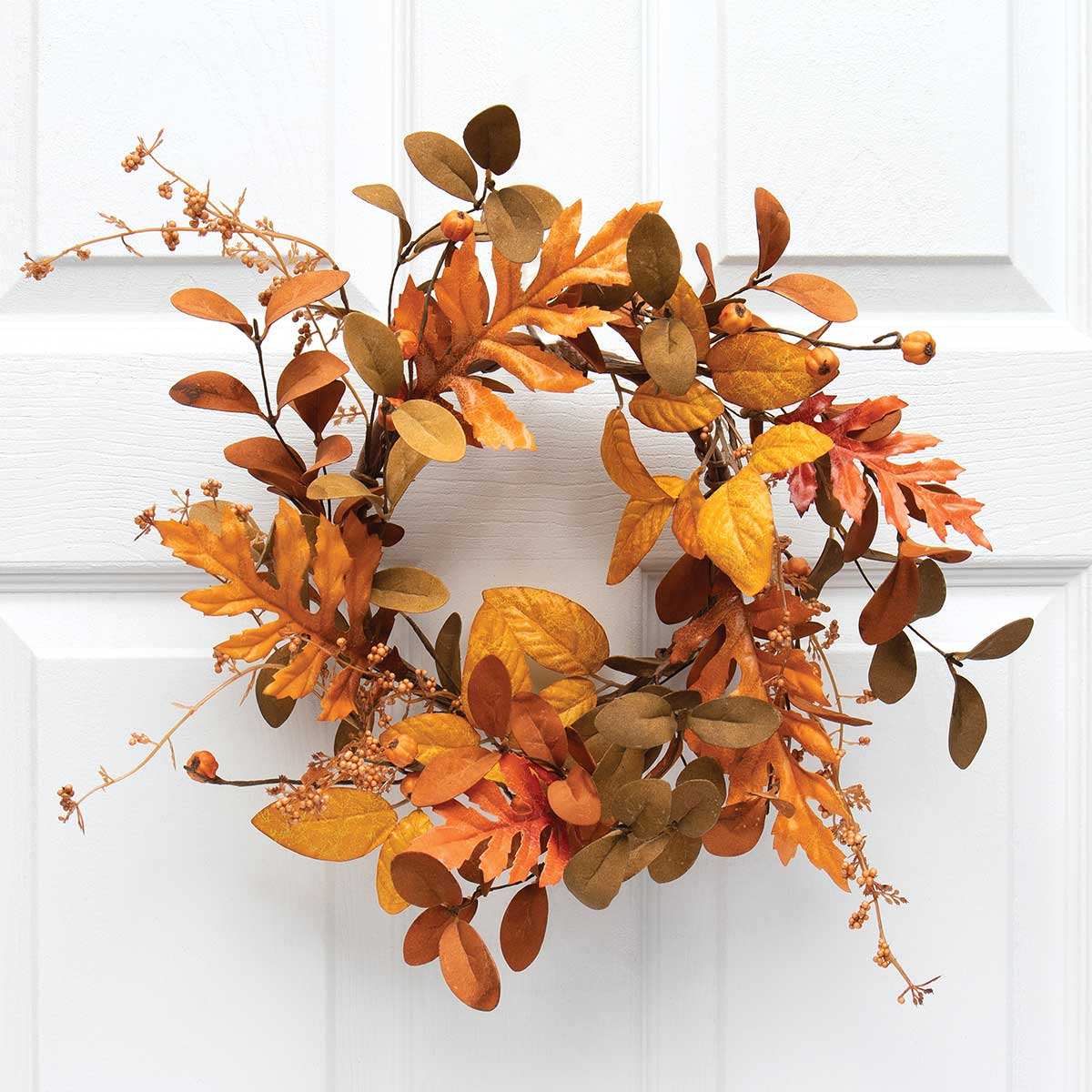 NEW AUTUMN MIXED LEAF MINI WREATH/CANDLE RING