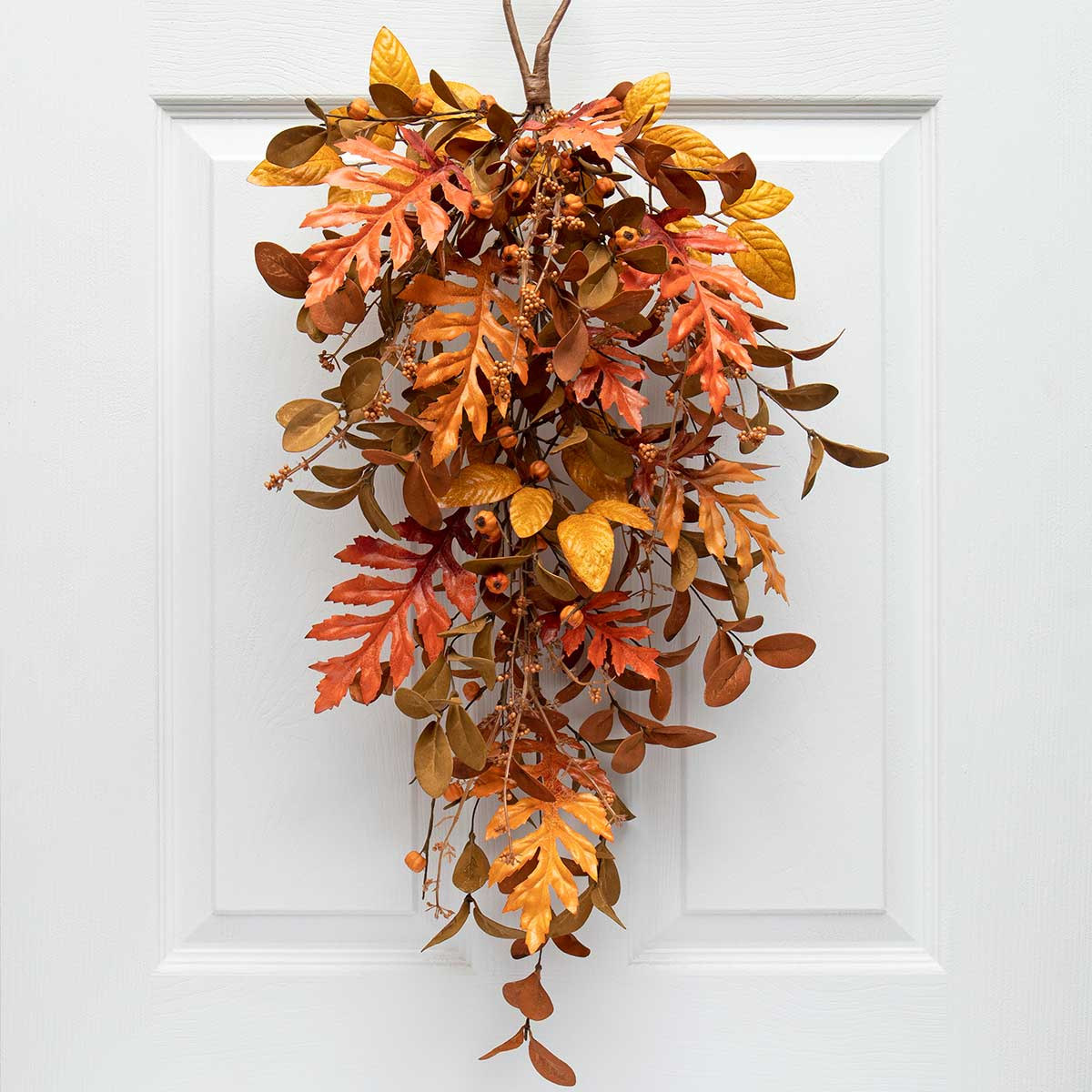 NEW AUTUMN MIXED LEAF BOUGH ORANGE/BROWN WITH MINI