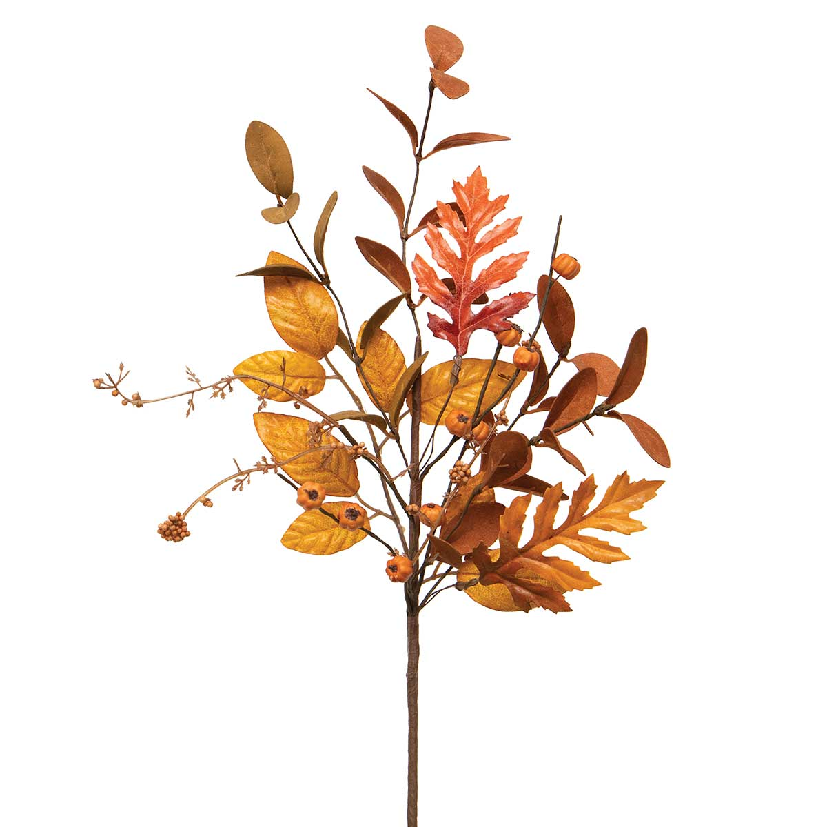 NEW AUTUMN MIXED LEAF SPRAY ORANGE/BROWN WITH MINI