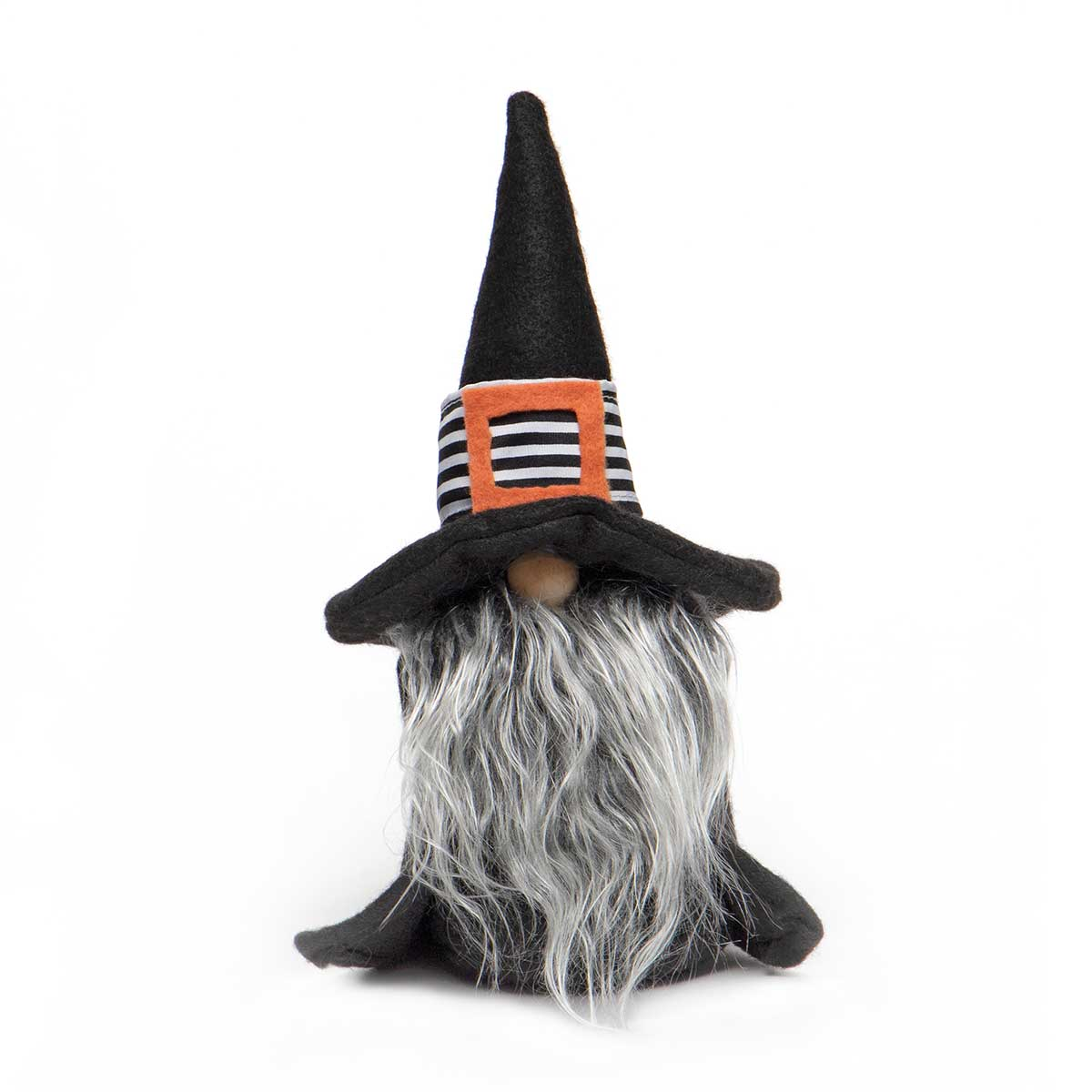 WILMA WITCH GNOME BLACK/WHITE WITH WOOD NOSE, GREY