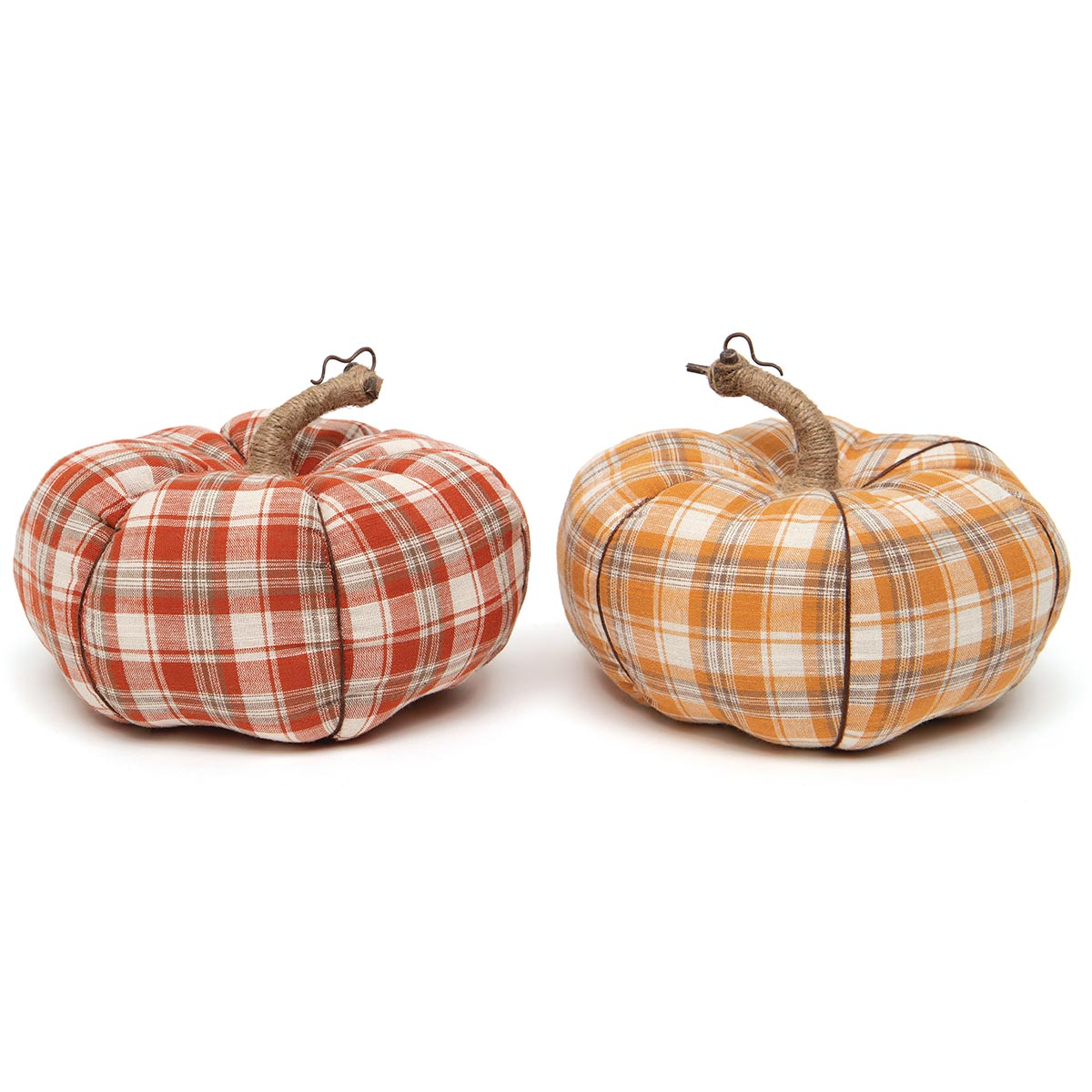 FALL FEST PLAID PLUSH PUMPKIN RED/ORANGE WITH TWINE