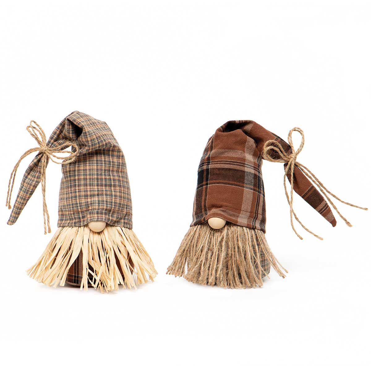 FALL FEST GNOME BROWN/TAN WITH PLAID FLOPPY HAT, WOOD