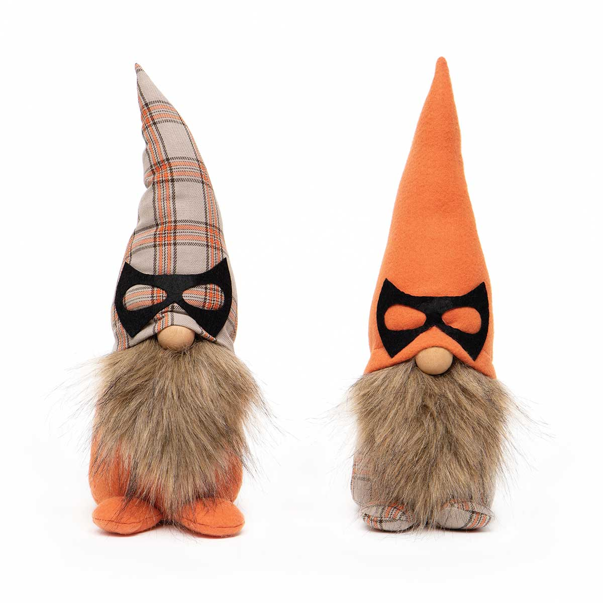 MASKED GNOME WITH WIRED ORANGE/PLAID HAT, WOOD NOSE