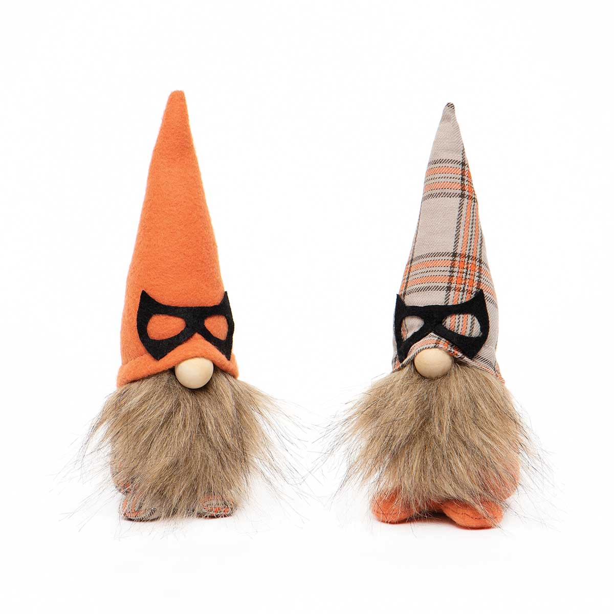 MASKED GNOME WITH WIRED ORANGE/PLAID HAT