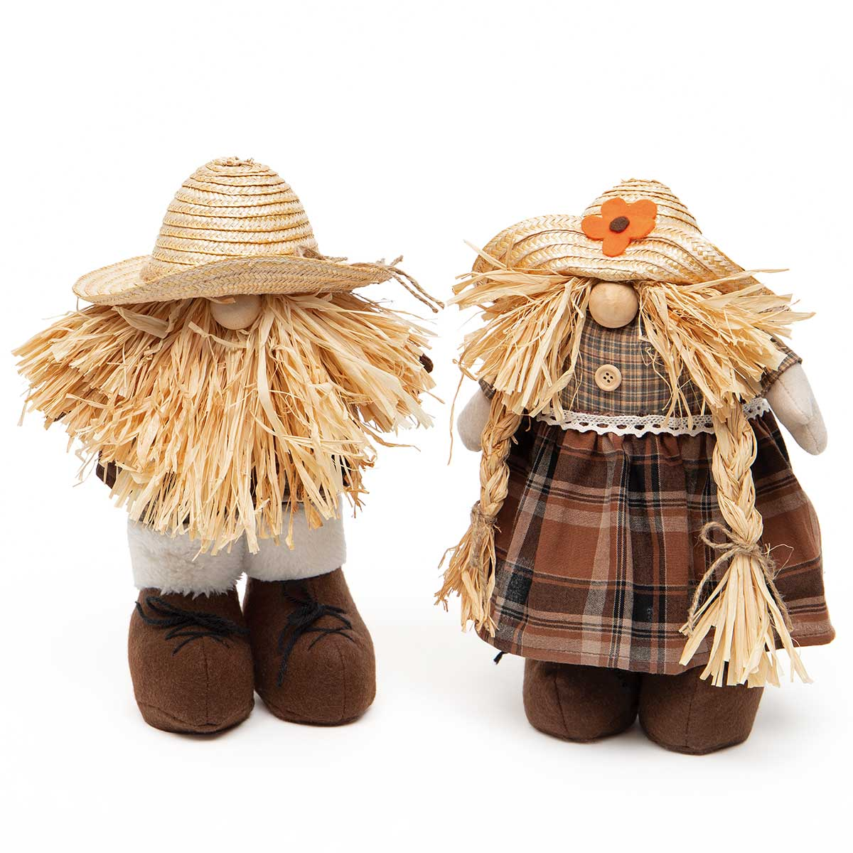 FALL FEST YOUNGINS GNOME BROWN PLAID W/STRAW HAT, WOOD