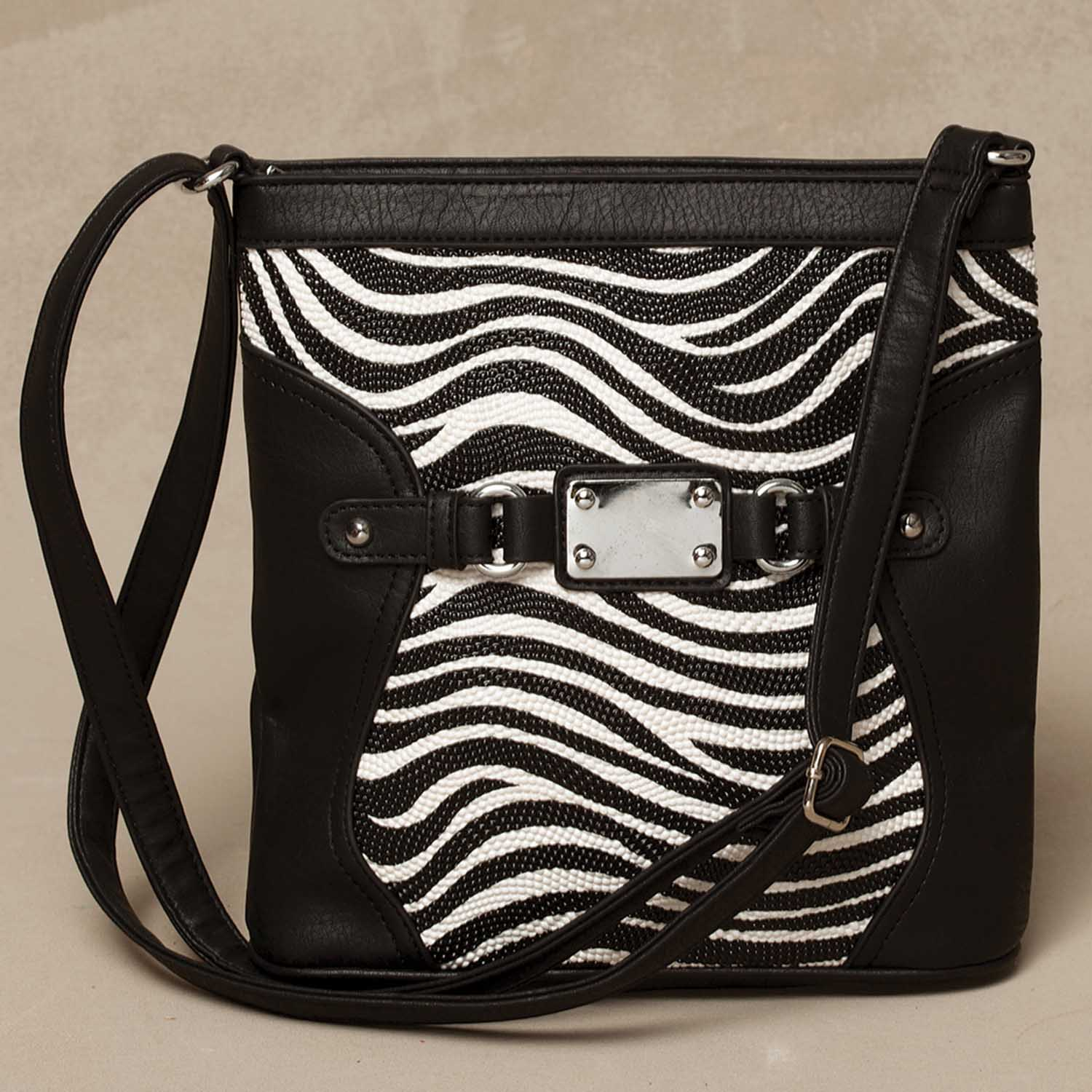 BLACK ZEBRA PATTERN CROSSBODY BAG
