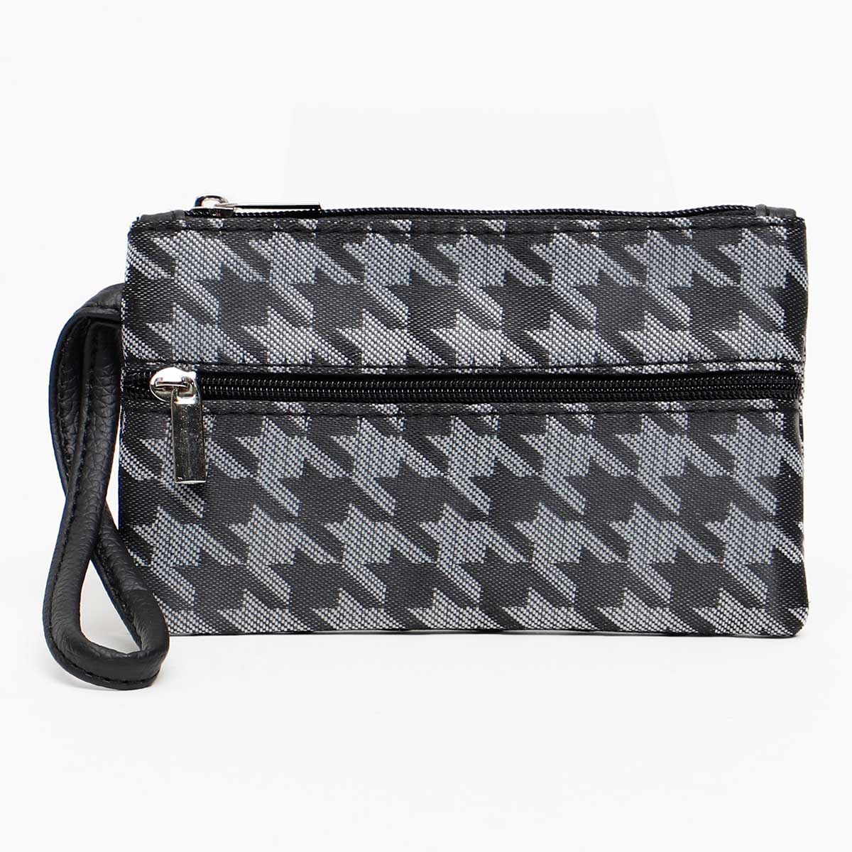 GRAY BLACK HOUNDSTOOTH COIN/CARD PURSE