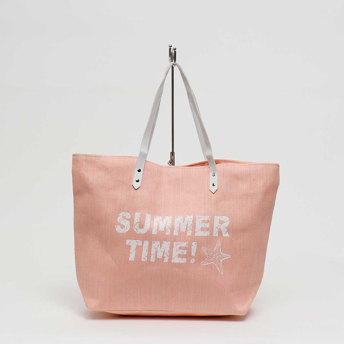 "PEACH CANVAS ""SUMMER TIME!"" TOTE WITH HANDLE"