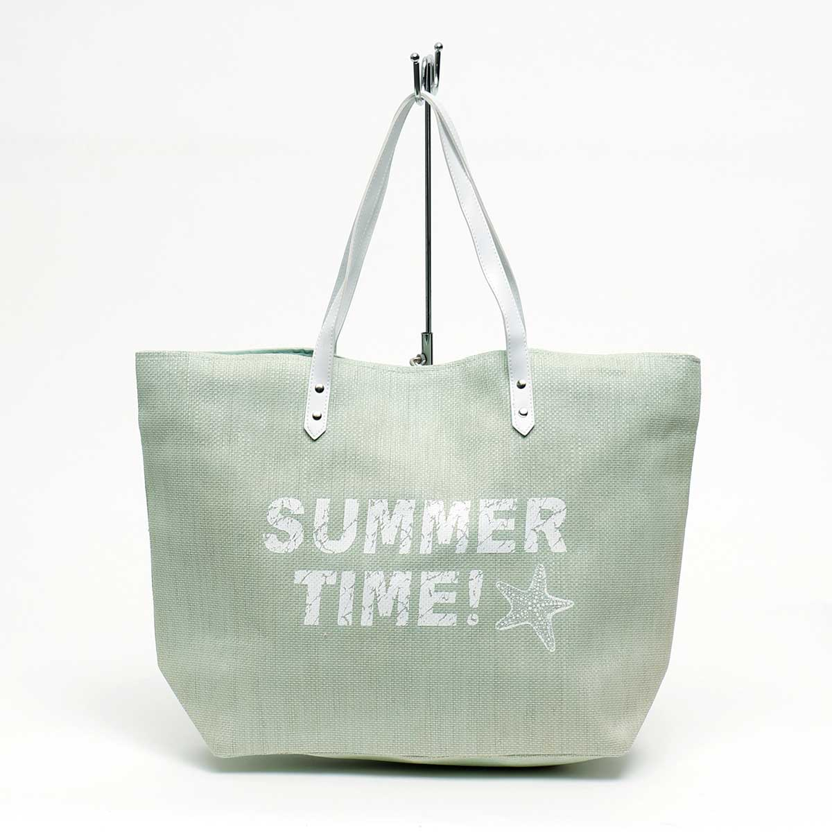 "MINT CANVAS ""SUMMER TIME!"" TOTE WITH HANDLE"