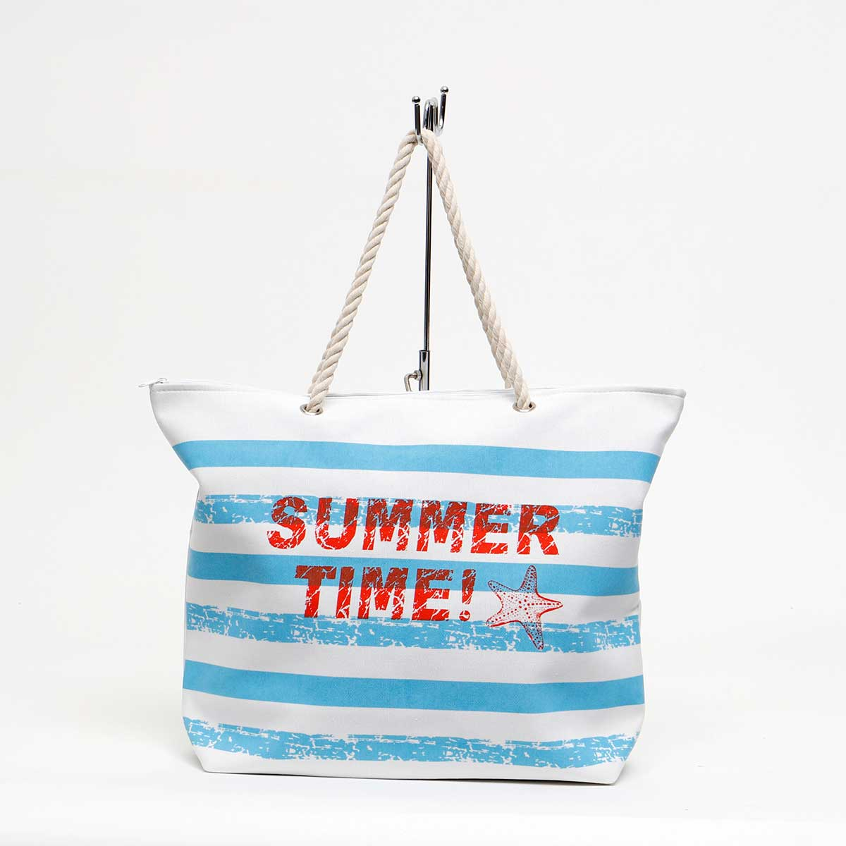 "Blue Summer Time Tote 21""x5.75""x16"" with 8.5"" Rope Handle 70sp"