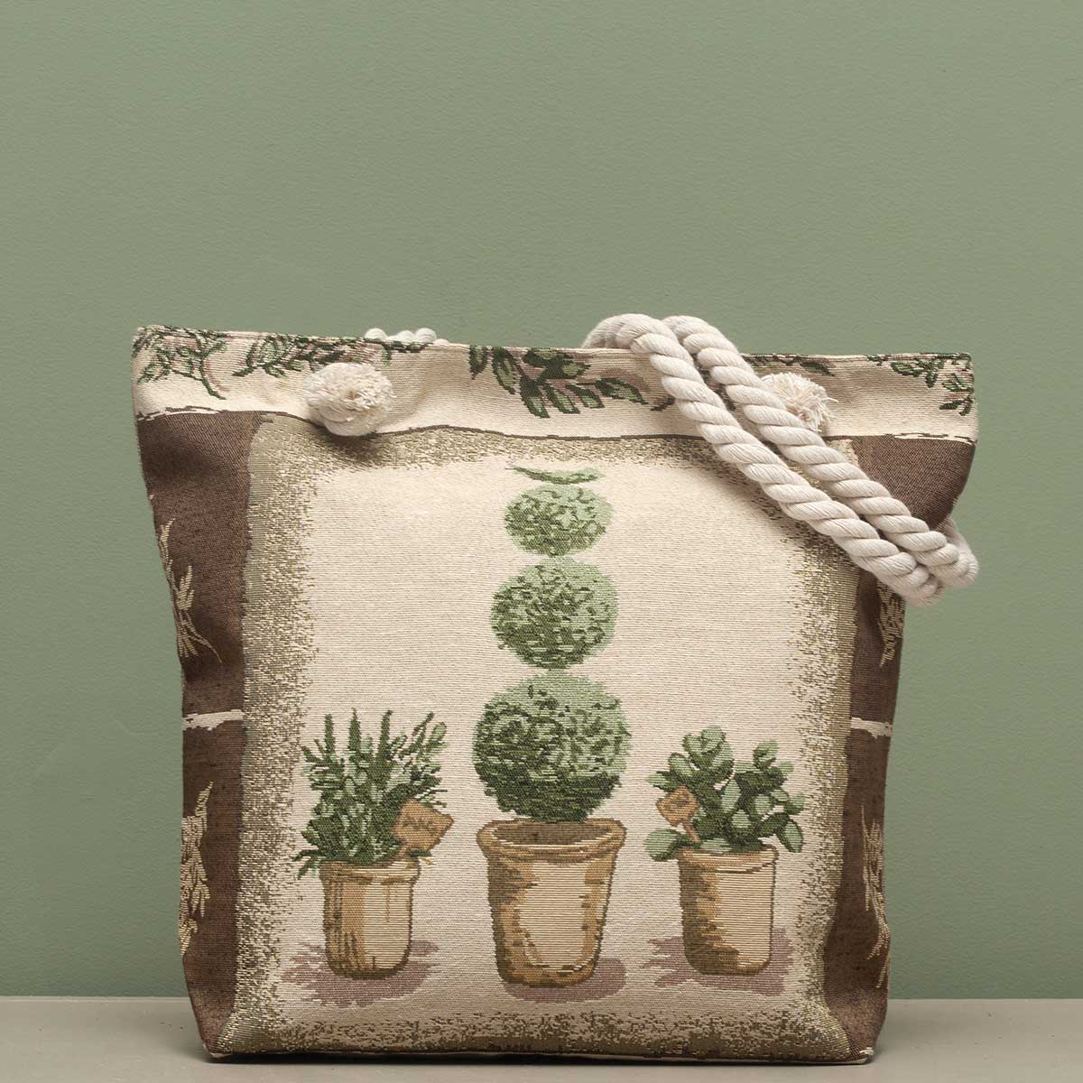 "Topiary Tapestry Bag 17.5""x5""x14"" with 10"" Shoulder Strap, Linin"