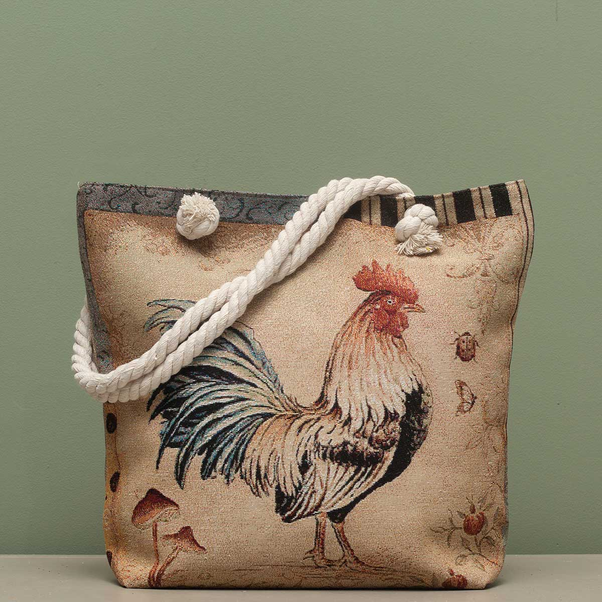 "Rooster Tapestry Bag 17.5""x5""x14"" with 10"" Shoulder Strap, Linin"