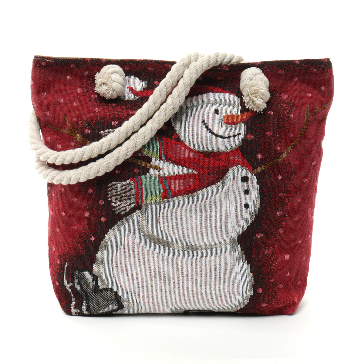 "SNOWMAN SKATING TAPESTRY BAG 17.5""X5""X14"" WITH 10"" SHOULDER STR"