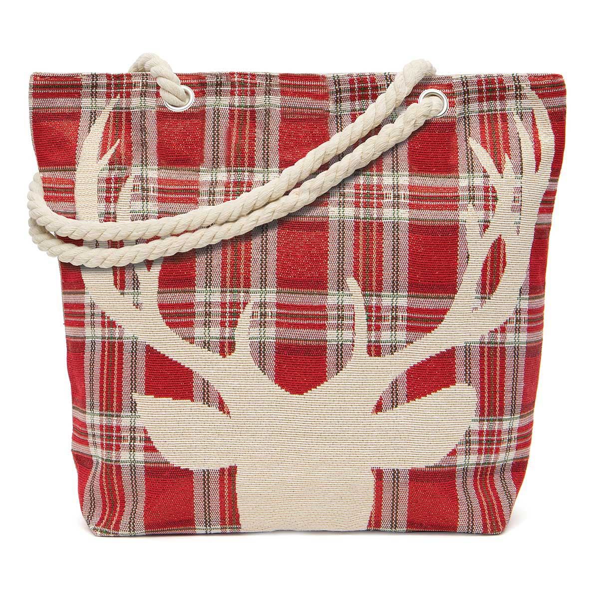 Plaid with Deer Head Tapestry Bag