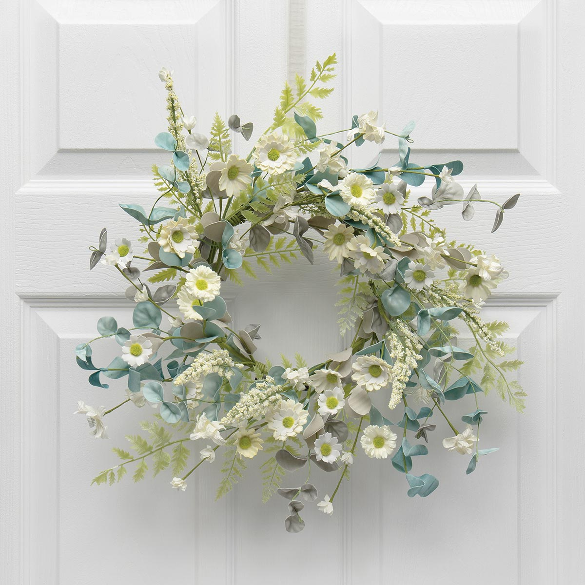 DAINTY DAISY MINI WREATH/CANDLE RING BLUE/WHITE 18""